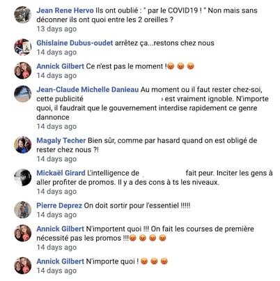 Commentaires Facebook Ads négatifs sur les promotions