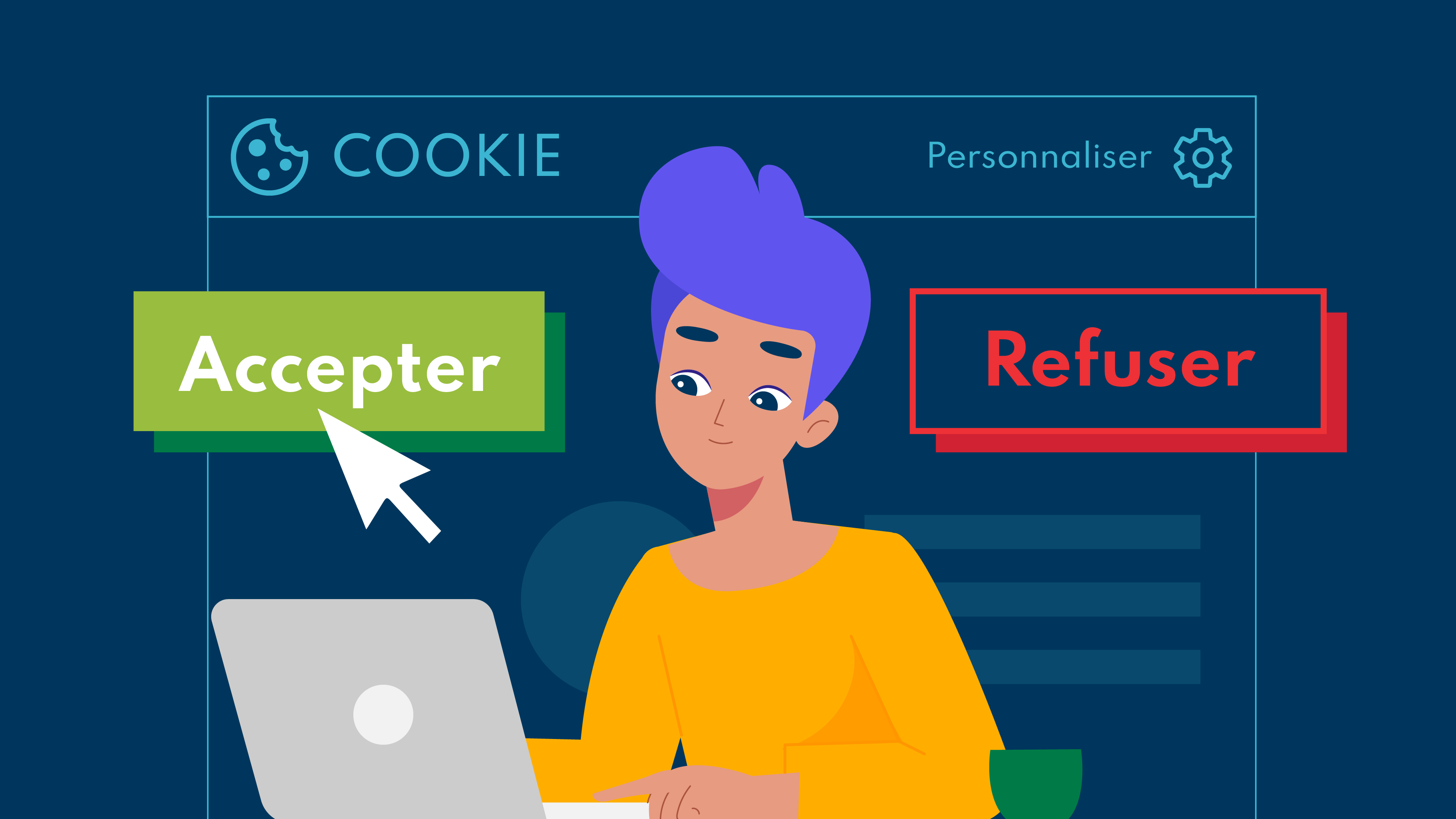 woman sitting in the front of her computer and choosing to accept or refuse cookies