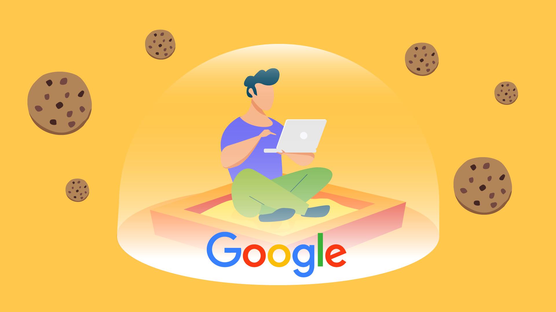 homme navigant sur un ordinateur, assis dans un bac à sable Google, protégé par un bouclier anti cookies.